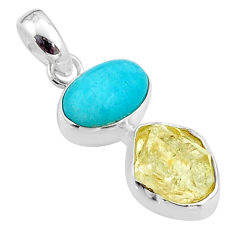 10.79cts natural peruvian amazonite herkimer diamond 925 silver pendant t48917