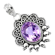 6.31cts natural pink amethyst 925 sterling silver pendant jewelry r57823
