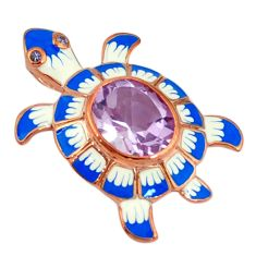 Natural pink amethyst enamel 925 sterling silver turtle pendant jewelry c16910