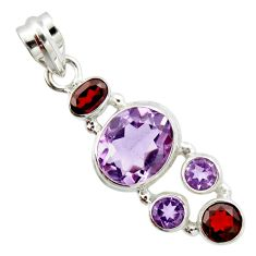 10.04cts natural pink amethyst garnet 925 sterling silver pendant jewelry r20364
