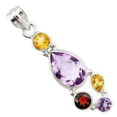 9.72cts natural pink amethyst garnet 925 sterling silver pendant jewelry r20366