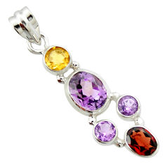 7.83cts natural pink amethyst garnet 925 sterling silver pendant jewelry r20367