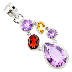 10.04cts natural pink amethyst garnet 925 sterling silver pendant jewelry r20368