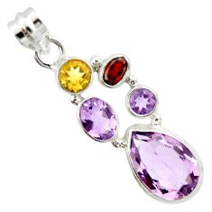 11.23cts natural pink amethyst garnet 925 sterling silver pendant jewelry r20370