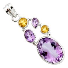 18.17cts natural pink amethyst yellow citrine 925 sterling silver pendant r20363