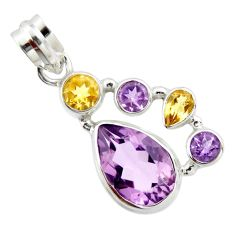 10.64cts natural pink amethyst yellow citrine 925 sterling silver pendant r20371