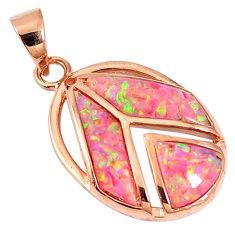Natural pink australian opal (lab) 925 silver 14k gold pendant a61563 c15423