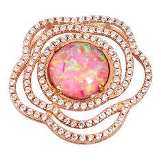 Natural pink australian opal (lab) topaz 925 silver gold pendant a61580 c15447