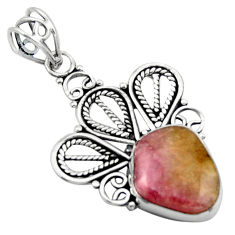 11.04cts natural pink bio tourmaline 925 sterling silver pendant jewelry d46635