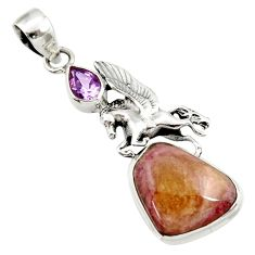 Clearance Sale- 14.41cts natural pink bio tourmaline amethyst 925 silver unicorn pendant d43085
