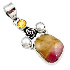 Clearance Sale- 14.70cts natural pink bio tourmaline citrine 925 silver flower pendant d43091
