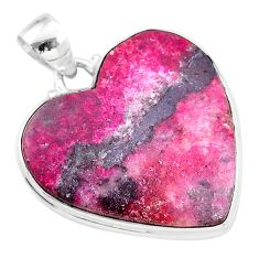 22.59cts natural pink cobalt calcite 925 sterling silver heart pendant t14846