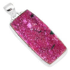 16.73cts natural pink cobalt calcite 925 sterling silver handmade pendant r92921