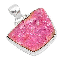 16.18cts natural pink cobalt calcite 925 sterling silver handmade pendant r92938