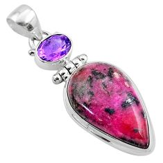 17.22cts natural pink cobalt calcite amethyst 925 sterling silver pendant r66042