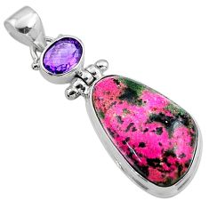 18.15cts natural pink cobalt calcite amethyst 925 sterling silver pendant r66043