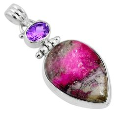 19.23cts natural pink cobalt calcite amethyst 925 sterling silver pendant r66081