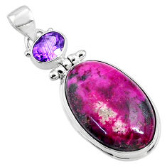 21.42cts natural pink cobalt calcite amethyst 925 sterling silver pendant r66082