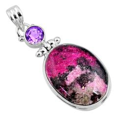 18.68cts natural pink cobalt calcite amethyst 925 sterling silver pendant r66083