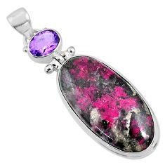 24.00cts natural pink cobalt calcite amethyst 925 sterling silver pendant r66101