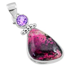 15.48cts natural pink cobalt calcite amethyst 925 sterling silver pendant r66102