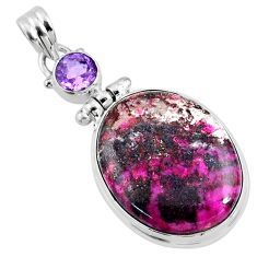 22.05cts natural pink cobalt calcite amethyst 925 sterling silver pendant r66103