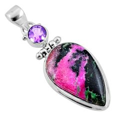 17.18cts natural pink cobalt calcite amethyst 925 sterling silver pendant r66106