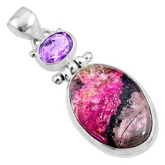 15.65cts natural pink cobalt calcite amethyst 925 sterling silver pendant r66107