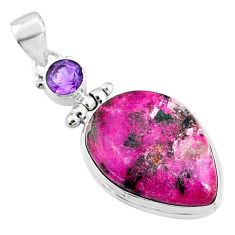 19.12cts natural pink cobalt calcite amethyst 925 sterling silver pendant r66109