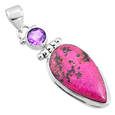 15.08cts natural pink cobalt calcite amethyst 925 sterling silver pendant r66110