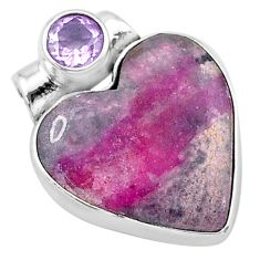 11.70cts natural pink cobalt calcite amethyst 925 sterling silver pendant t13458