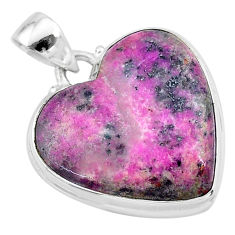 19.72cts natural pink cobalt calcite heart 925 sterling silver pendant t13447