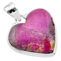 15.65cts natural pink cobalt calcite heart 925 sterling silver pendant t13452