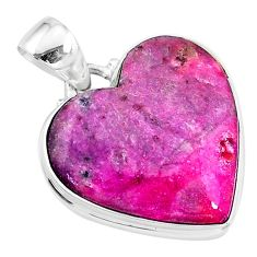 16.07cts natural pink cobalt calcite heart 925 sterling silver pendant t14853