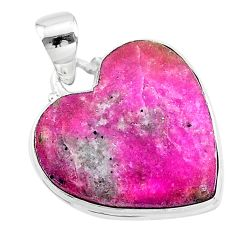 18.65cts natural pink cobalt calcite heart 925 sterling silver pendant t14854
