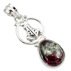 9.42cts natural pink eudialyte 925 sterling silver frog pendant jewelry d44626
