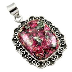 25.58cts natural pink eudialyte 925 sterling silver pendant jewelry r30503