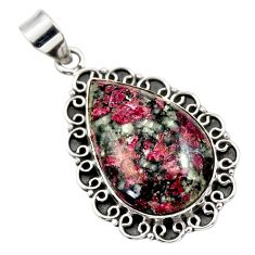 23.11cts natural pink eudialyte 925 sterling silver pendant jewelry r32141