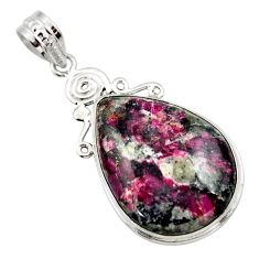 22.02cts natural pink eudialyte 925 sterling silver pendant jewelry r32142