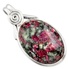 22.44cts natural pink eudialyte 925 sterling silver pendant jewelry r32143