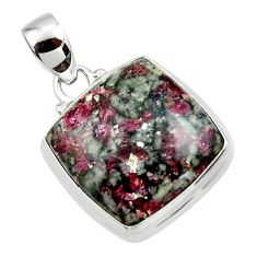 16.92cts natural pink eudialyte 925 sterling silver pendant jewelry r46239