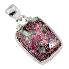 14.12cts natural pink eudialyte 925 silver handmade pendant r76482