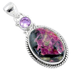13.70cts natural pink eudialyte amethyst 925 sterling silver pendant r94601
