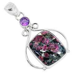 15.08cts natural pink eudialyte amethyst 925 sterling silver pendant r94604