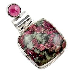 19.23cts natural pink eudialyte garnet 925 sterling silver pendant r27978