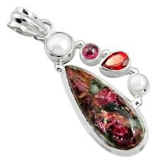 13.71cts natural pink eudialyte garnet pearl 925 sterling silver pendant r24942