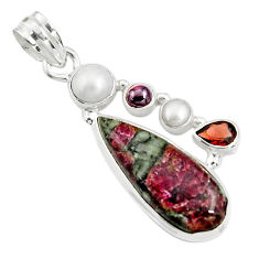 13.26cts natural pink eudialyte garnet pearl 925 sterling silver pendant r24947