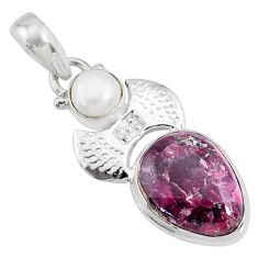 9.63cts natural pink eudialyte pearl 925 sterling silver pendant jewelry r72844