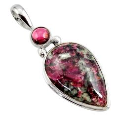 16.18cts natural pink eudialyte red garnet 925 sterling silver pendant r27754