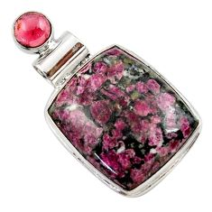 19.23cts natural pink eudialyte red garnet 925 sterling silver pendant r27962